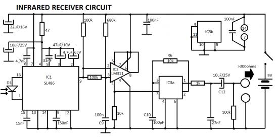 headphones infrared ir receiver circuit