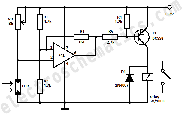 schematic of dark activated switch circuit