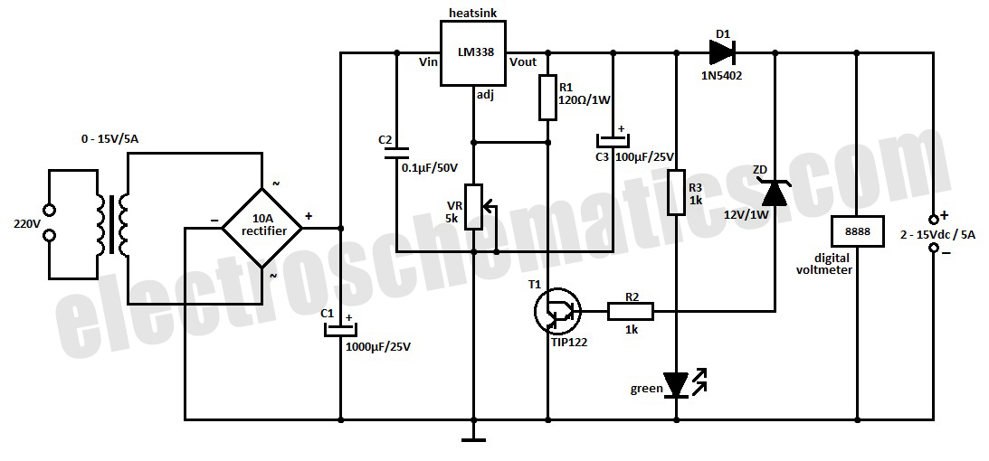 sealed lead acid 12v battery charger power supply diagram and