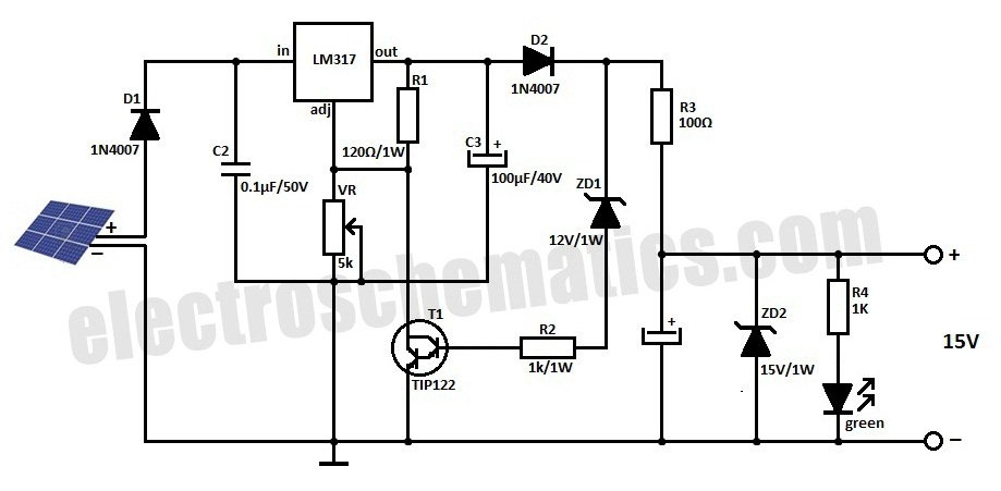 solar battery charger schematic diagram