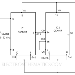 Schematic Wiring Diagram Of A House 6 Pin Din Plug Ic 4017 Circuits And Projects 50 Hz Pulse Generator Circuit