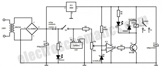 charger circuit for 6v or 12v car battery