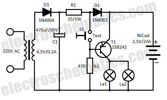 led emergency light schematic design