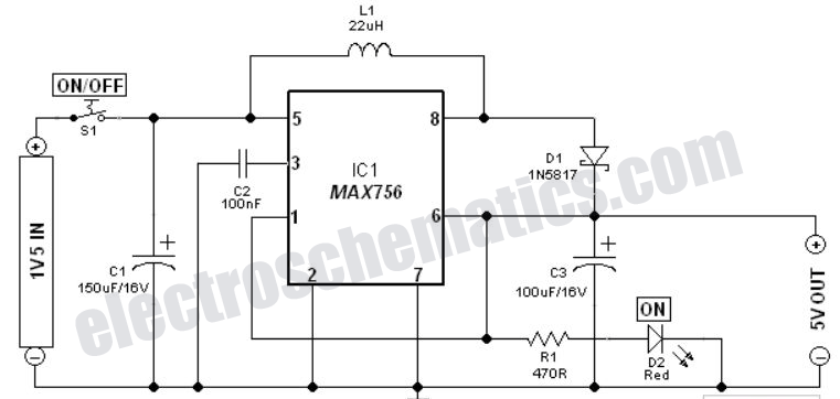 1.5V to 5V Voltage Converter Circuit