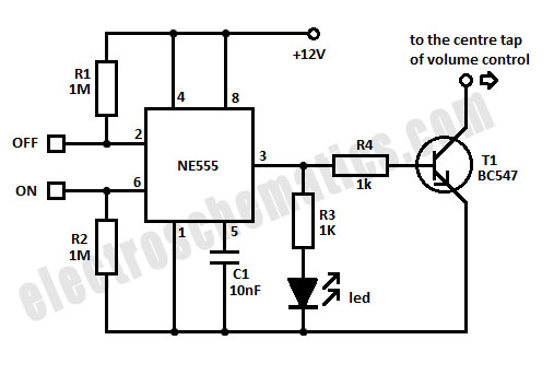 ON/OFF Touch Controlled Mute Switch with 555 IC