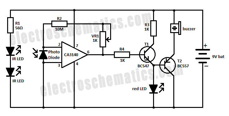Invisible Infrared Alarm Circuit
