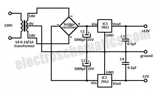 12 Volt Symmetric Power Supply Circuit