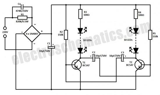 220v flashing led circuit schematic