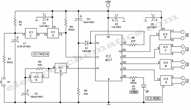 Multiplexer Switch Circuit with 4066