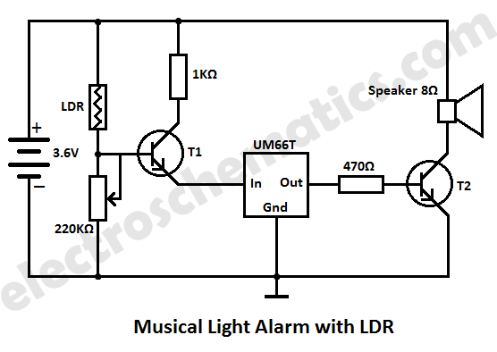 musical light alarm circuit schematic