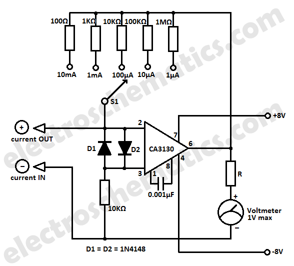 Simple Micro Ampere Meter Circuit