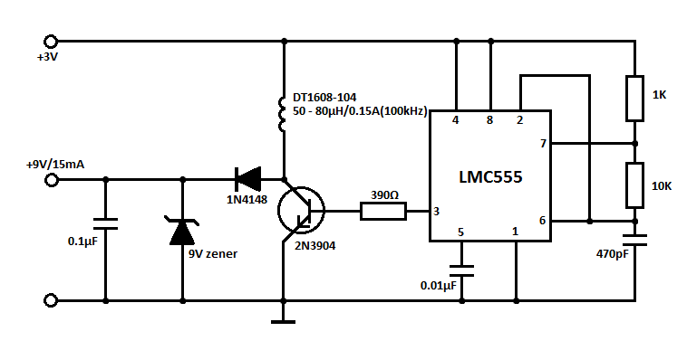 3V to 9V DC Boost Converter Circuits