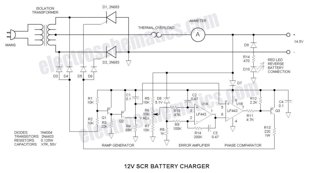 medium resolution of scr 12v battery charger circuit schematic