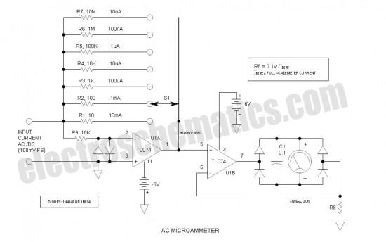 AC/DC Microammeter Circuit