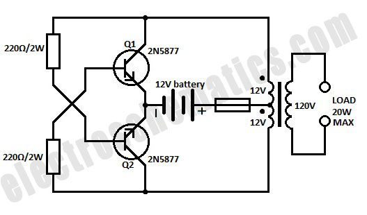 simple inverter circuit from 12 v up to 120v electronic circuit