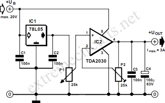 Adjustable Voltage Regulator with TDA2030