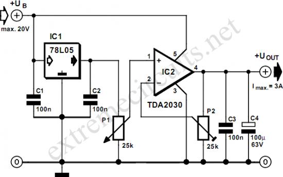 Adjustable Voltage Regulator with TDA2030