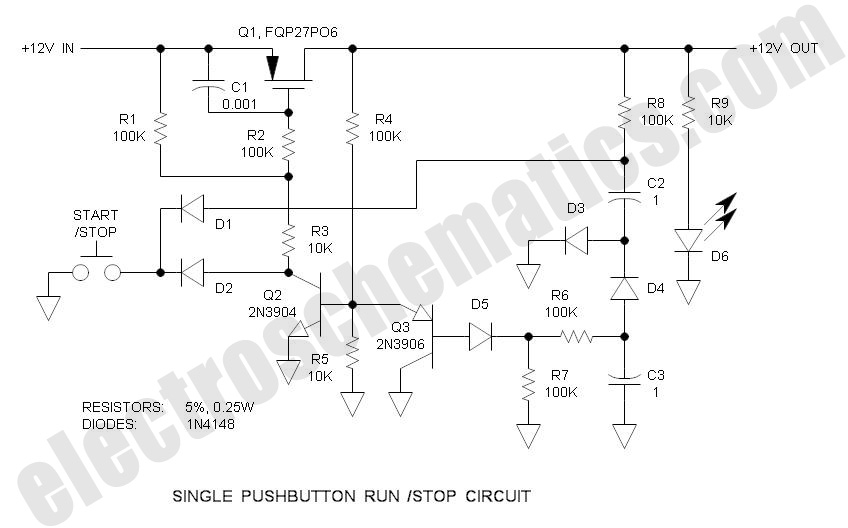 Single Pushbutton Run-Stop Circuit
