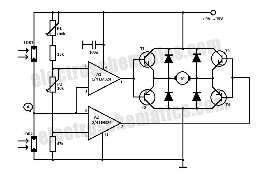 servo solar tracker schematic