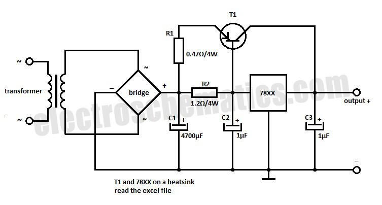 power control circuit diagram for 78xx regulator controlcircuit
