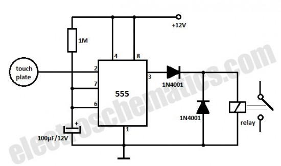 touch switch 555 timer circuit diagram
