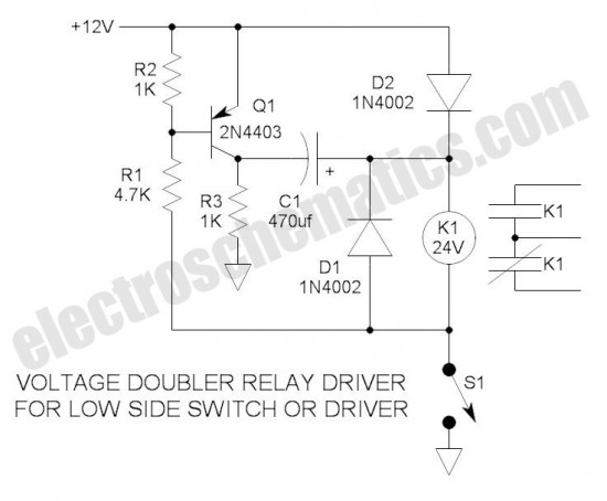 555 Voltage Doubler Relay Driver