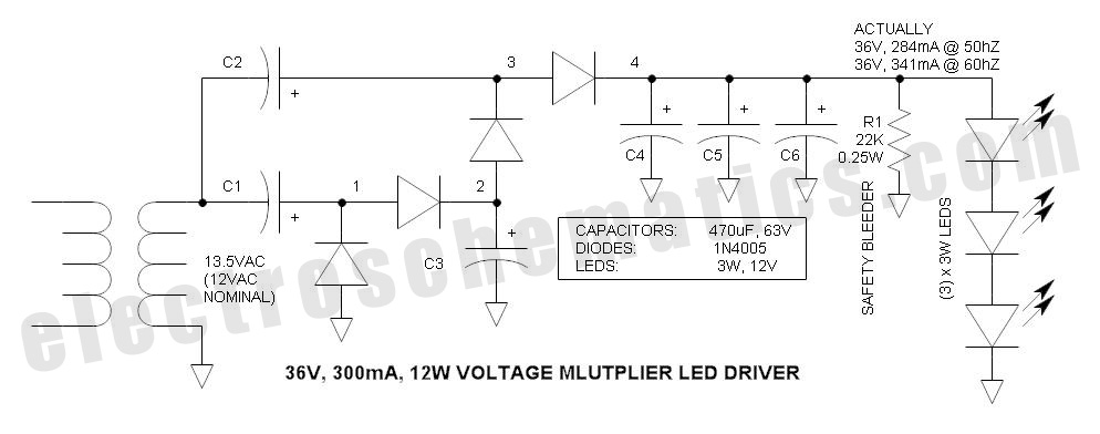 voltage multiplier for power led driver