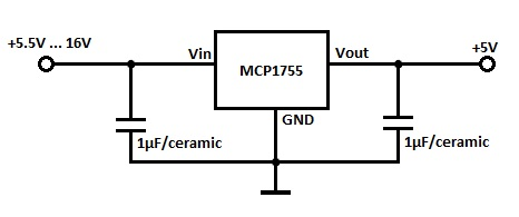 MCP1755 LDO 5V Voltage Regulator