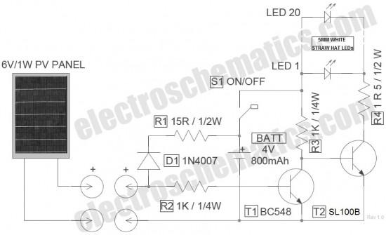 LED Solar Lantern Lights Circuit