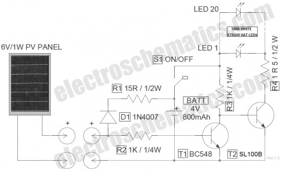 how does the solar lantern circuit works