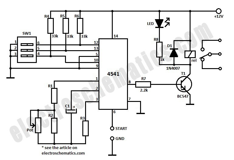 4541 Timer Relay Circuit 0.3 second to 10 hours