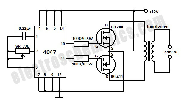 12vdc to 100vac mosfet inverter circuit