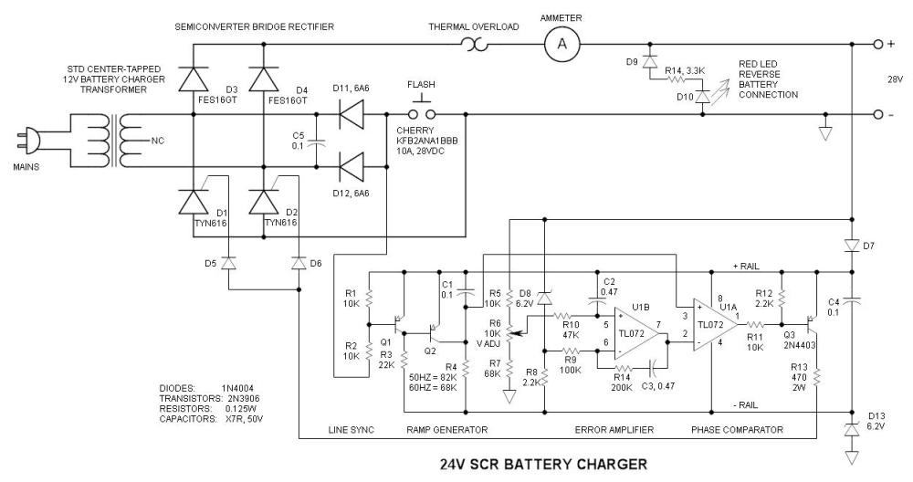 medium resolution of 24v battery charger with scr single line electrical diagram symbols 17 car battery charger