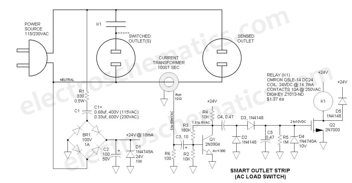 smart outlet strip ac power switch with relay