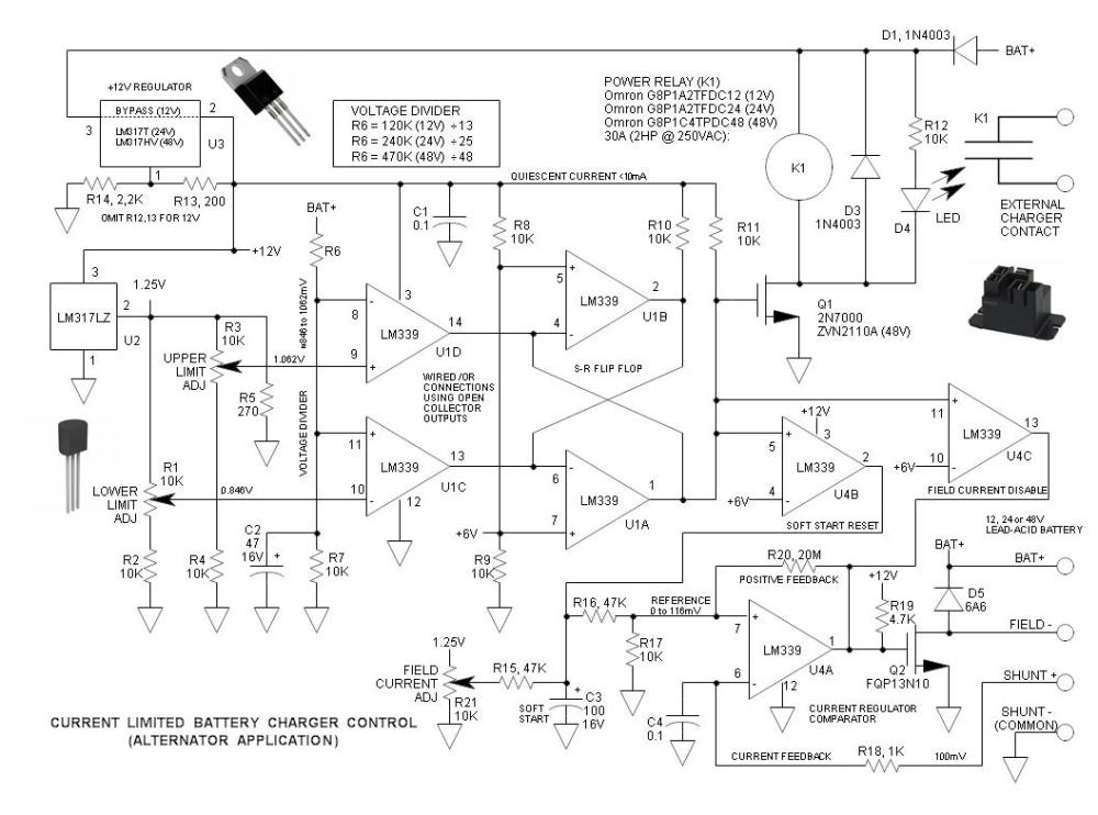 medium resolution of current limited alternator battery charger schematic