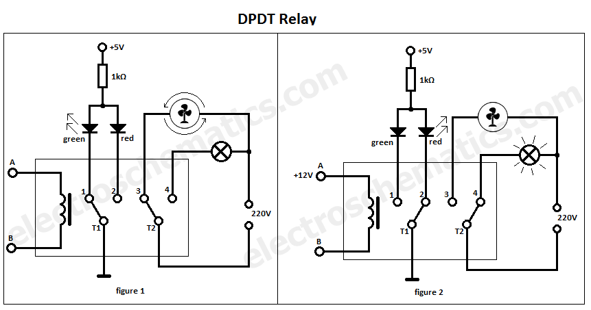 DPDT switch double pole double throw switch wiring diagram Double Pole Switch Schematic at mifinder.co