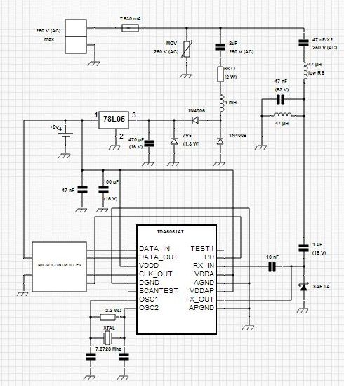 Power Line Modem Circuit for Home Automation Application