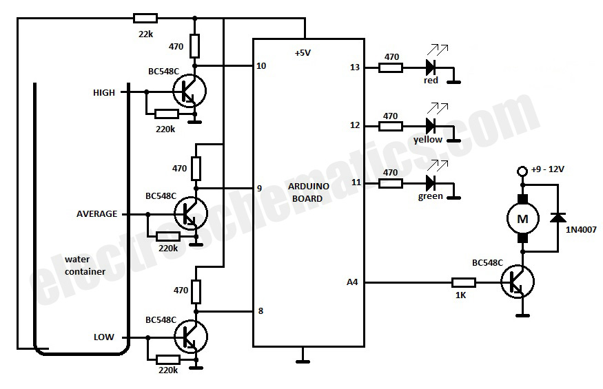 water level detector circuit diagram