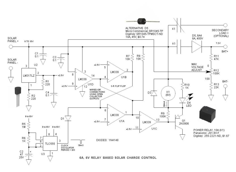medium resolution of 6v relay based solar charge control schematic