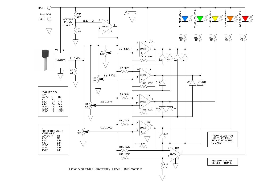 hight resolution of low voltage battery level indicator circuit 1