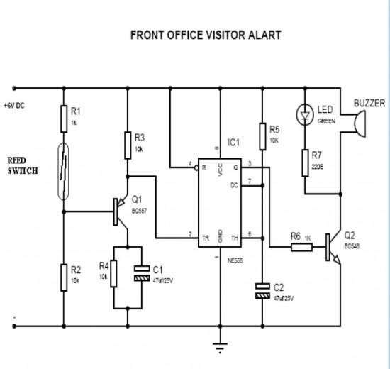 Schematic of the Door Opening Alert Circuit ~ Inventing