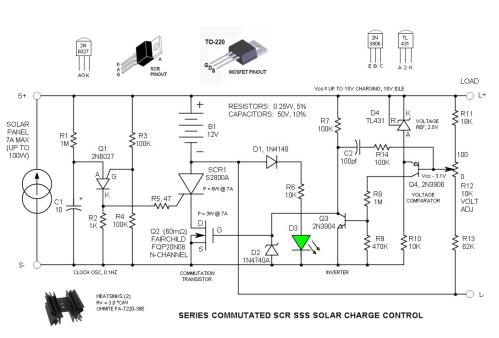 small resolution of series commutated scr sss solar charge control schematic