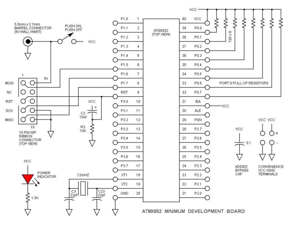 medium resolution of at89s52 minimum development board schematic