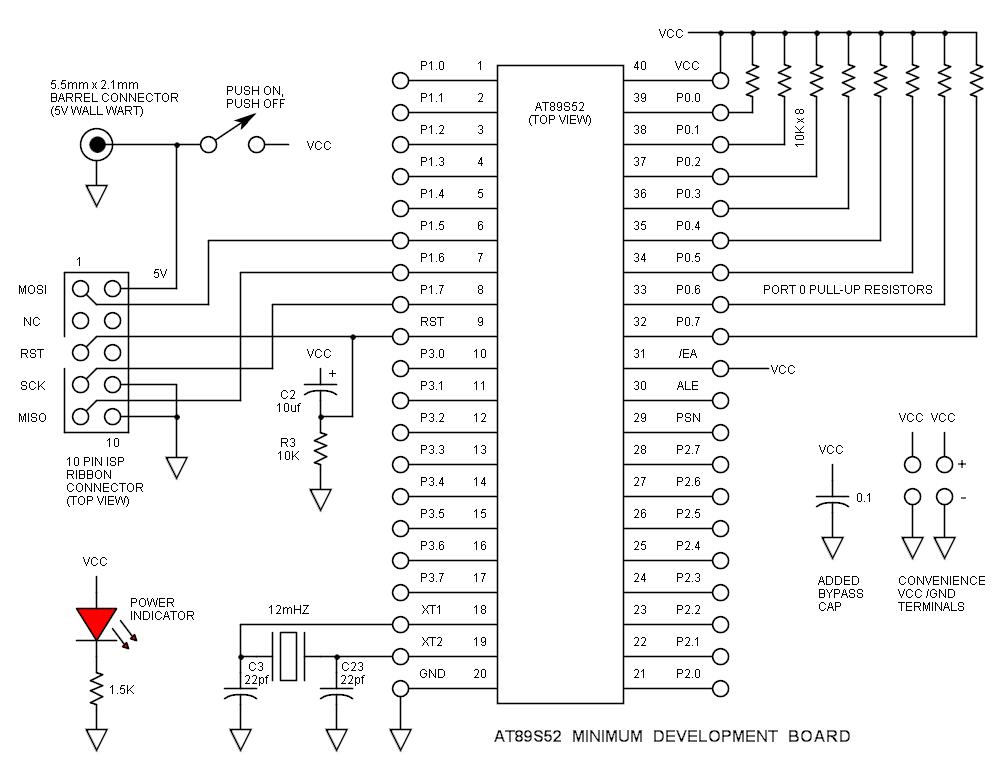 hight resolution of at89s52 minimum development board schematic
