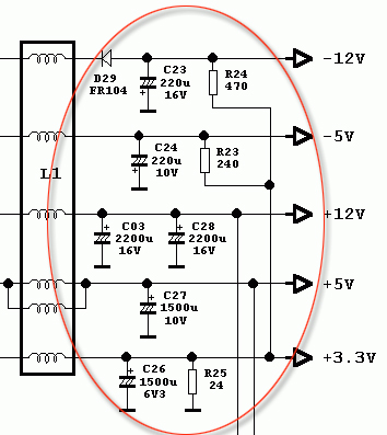 atx 450w smps circuit diagram 7 wire thermostat wiring pc hacking output filter capacitors in an