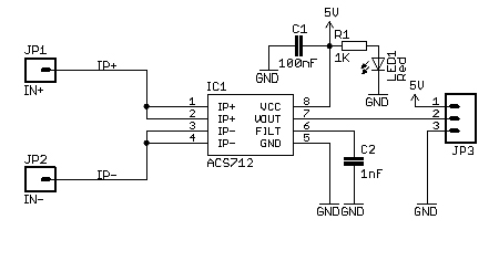 ACS712 Current Sensor Module Circuit for Microcontrollers