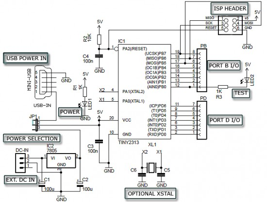 Circuit Schematic ATtiny2313 Minimum DIY Development Board