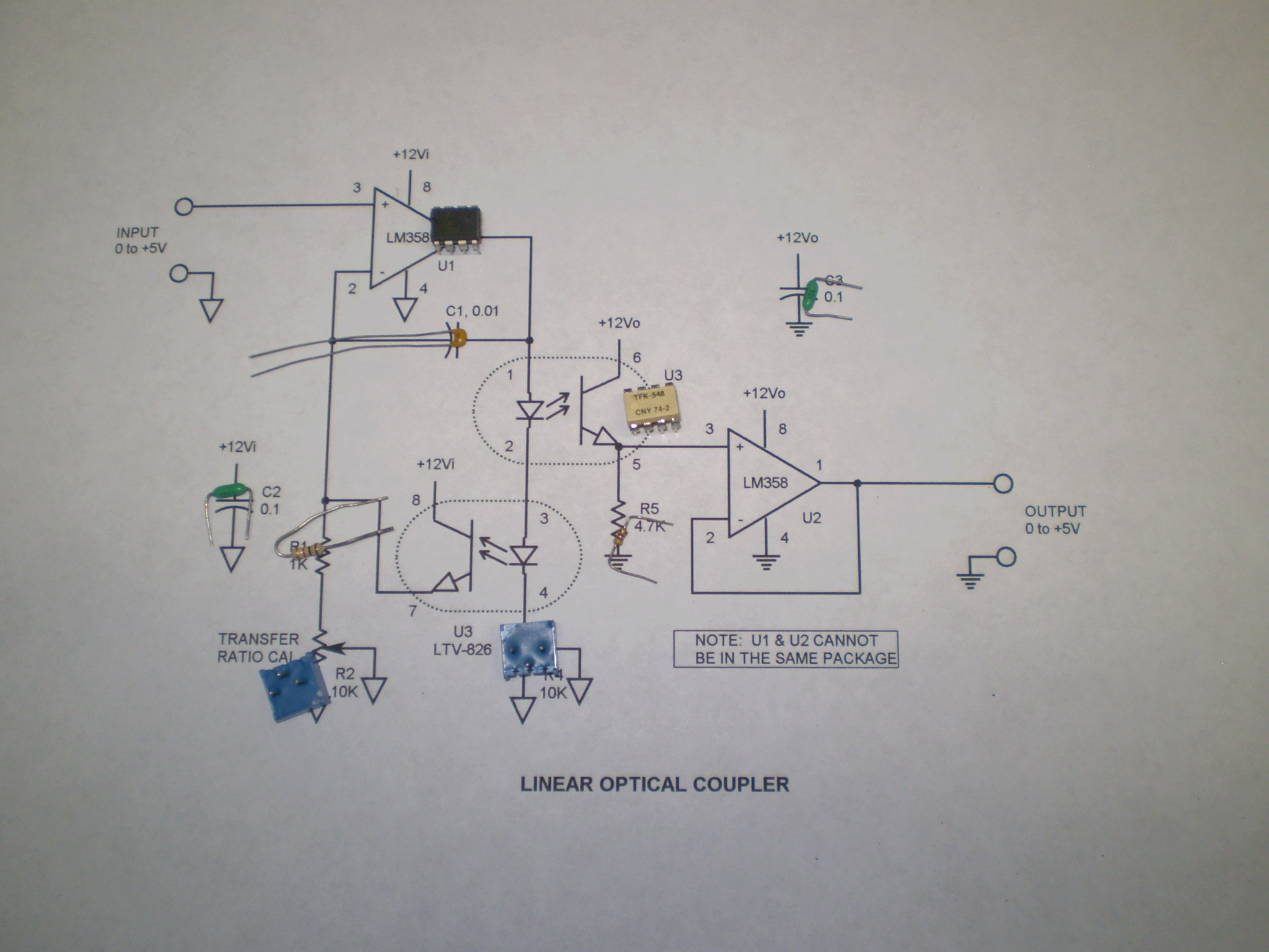 Iso100 Optocoupler Linear Isolated Amplifier Circuit Diagram