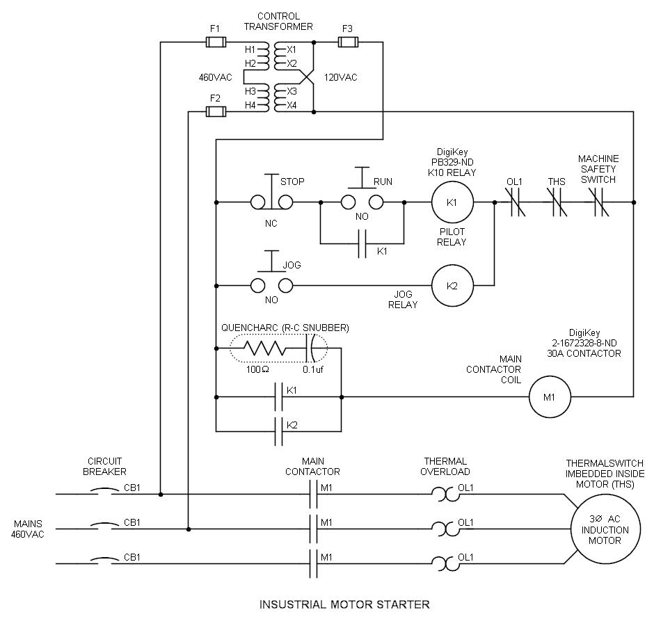 medium resolution of industrial run stop relay circuit with snubber