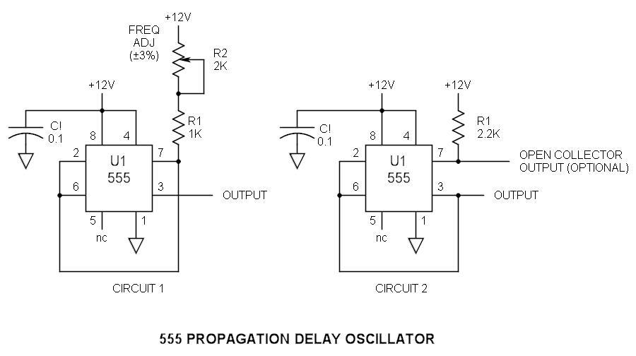 555 Propagation Delay Oscillator
